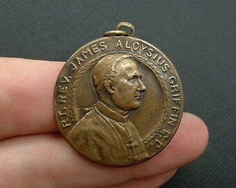 Antique Diamond Jubilee Fob MEDAL Reverend James Aloysius Griffin Cathedral Immaculate Conception, Springfield Illinois, LARGE Bronze 1928