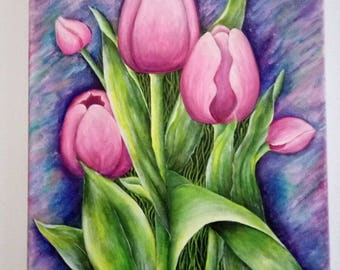 Tulips, original acrylic painting on canvas, flowers painting, living room decor, wall art.