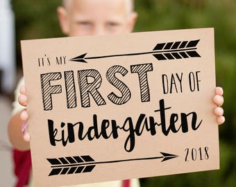 First Day of School signs for 2018 first day pictures, grades K - 12 printable signs, includes 2019 last day signs, instant download