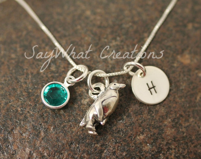 Sterling Silver Mini Initial Hand Stamped Penguin Charm Necklace