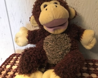 vintage plush monkey puppet