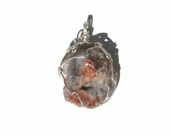 Pendant, chalcedony Rose raw and silver