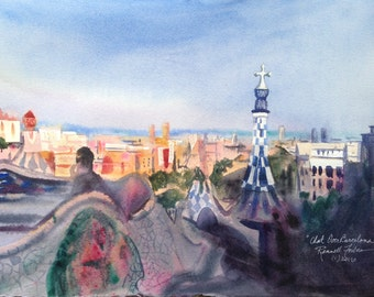Park Guell Art, Barcelona Spain Original Watercolor, Small Painting, Gaudi's Park Guell Art, Spanish Landscape, Mediterranean Sea View
