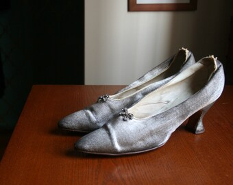Vintage 1910s to 1920s Silver Louis Heels