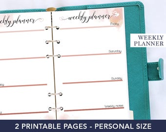 Valentines planner printable, weekly planner 2018, planner refill 2018, week on two pages, personal planner, weekly agenda organizer 2018