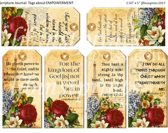 Christian Journal Tags, Bible Verses about Empowerment, Scripture Journal Tags, Printable Bible VerseTags