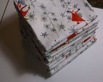 Holiday Fabric FQ Santa's Whimsy for Clothworks, White with Whimsical Santas and Snowflake Trees 100% High Quality Cotton By the FQ