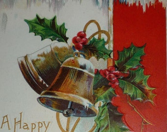 U/S Clapsaddle Bells and Holly Antique Christmas Postcard