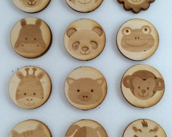 Wooden animal faces magnets