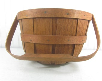 Vintage Firkin Style Basket, Farmhouse Decor, Rustic Decor, Wood Handled Basket, Wooden Basket