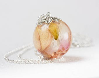 Real Rose Necklace Pendant - Resin Flower Jewelry - Real Flower Resin Necklace