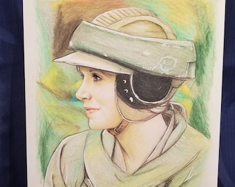 Original Drawing of Carrie Fisher as Princess Leia