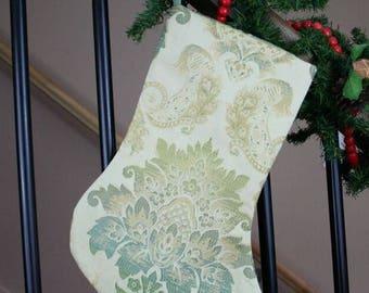 Damask Stocking, Silk stocking, Christmas Stocking; Duck Egg Blue and Gold Christmas Stocking, Decor, Wedding Gift