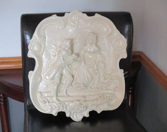 Victorian Couple Wall Hanging Solid Plaster