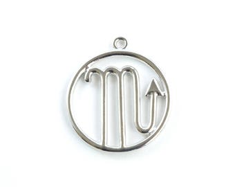 Scorpio Pendant, Silver Scorpio Charm, Scorpio Zodiac, Zodiac Pendant (206S)