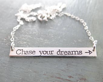 Chase Your Dreams Bar Necklace. Inspirational Arrow Hand Stamped Layering Bar Necklace. Personalized Bar in Rose Gold, Gold, or Silver
