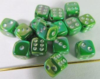 50 Vintage Spring Green AB Tiny Dice Beads Bd489