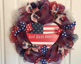 Patriotic Plaid Mesh Wreath for Front Door