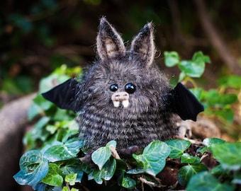 Spud -  Plush Bat, OOAK Bat Soft Sculpture, Fibre Art, Plush, Needle felting, Halloween Plush