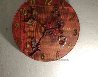 Hand made steampunk style wall clock hand clock, handmade French