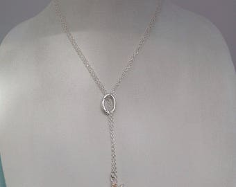 Seglass and crystal starfish necklace