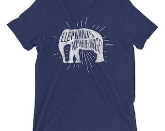 Elephants Never Forget Tri-Blend Short sleeve t-shirt