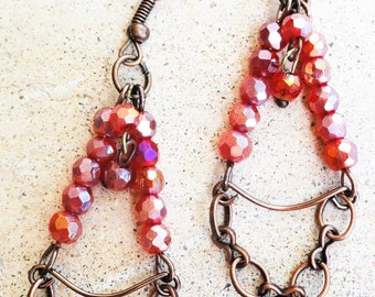 Ruby Red Beaded Copper Dangle Earrings By Distinctly Daisy