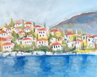 Oil painting of a Greek Island