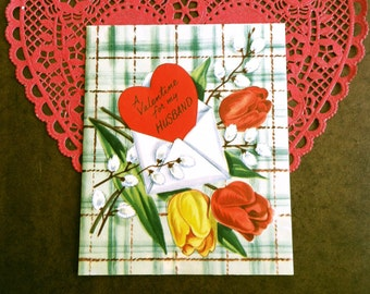 Vintage For My Husband Valentine Card Hubby Dear