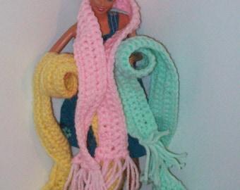 Fashion Doll Scarf/ fashion doll wrap/ playscale scarf/ crocheted doll scarf/ barbie size scarf/ doll clothes/ doll accessories/ 1/6 scale