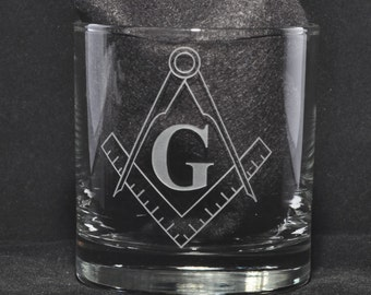 Freemason Rocks Glass Sand Carved for the Mason, Masonic Glass, Master Mason  by Jackglass on Etsy