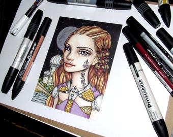 Tahira - original pen and ink illustration by Tanya Bond Eastern Warrior princess