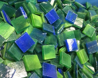 """EMERALD & SAPPHIRE 50 1/2"""" TRANSLUCENT Stained Glass Mosaic Tiles B32"""