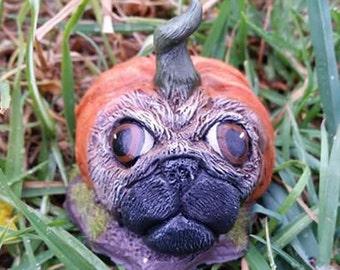 Pugkins - hand crafted Resin Pug Pumpkins - Halloween