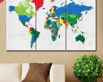 Print on canvas, Map on canvas, World map canvas, World map picture, Art canvas print, World Map Push Pin, World Map Push Pin