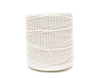 Cotton Twisted Rope 2,5 mm, White Rope Macrame, Optic White Rope 1.02 kg/35.98 oz