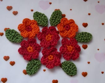 6 red and orange flowers and 6 leaves crochet