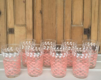 8 Vintage Juice Glasses, Drinking Glasses, Pink and White, by Federal, Bridal Shower Gift, Gift for Her