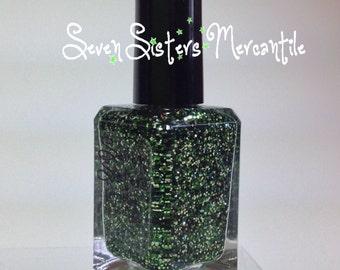 Crocodile Smile - Seven Sisters Nail Lacquer - 15 mL 0.5 Fl Oz. - Neverland Collection - Green Glitter Nail Polish