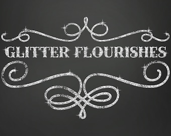 80% OFF SALE Glitter Clipart, Glitter Clip Art, Digital Glitter, Glitter Frames, Glitter Flourishes, Clipart, Glitter Graphics