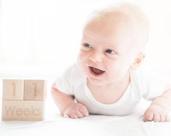 Baby Monthly Blocks - Baby Announcement - Baby Milestone - Baby Shower Gift - Baby Milestone Cards