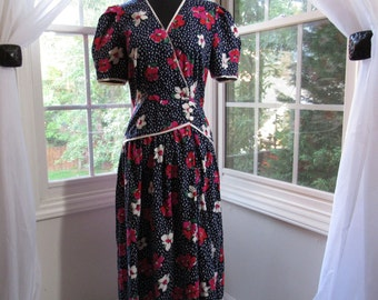 Vintage Navy and White California Girl Dress, Fit and Flare