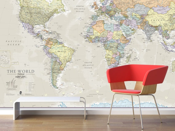 Giant World Map Mural Classic Home Decor Living Room