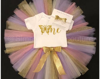 Girl's First Birthday Outfit, one, butterfly, tutu, pink tutu, purple tutu, bow, smash cake outfit, first birthday, one shirt, headband