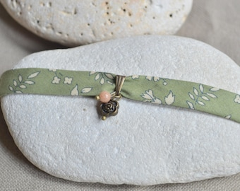 Green liberty fabric flower with Pearl flower bracelet