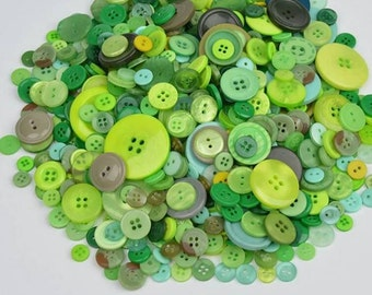 25 buttons in different sizes in shades of green