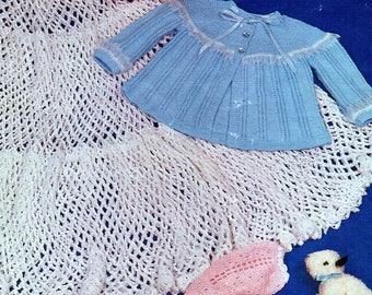 Baby Knitting Pattern 3 ply Jacket with Crochet Jacket & Circular Shawl 0-6 mths pdf