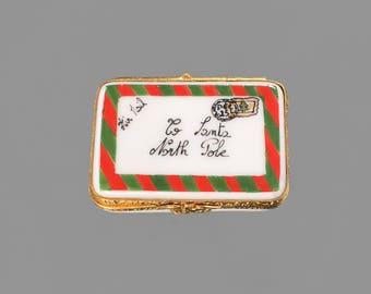 Christmas Box by Artoria; Limoges Trinket box; Vintage French porcelain box; Vintage pill box; Hand painted vintage trinket box