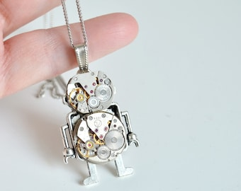 Steampunk Robot Necklace Pendant Industrial Android Steam punk Pendants Steampunk Robots Birthday Jewelry Watch Parts Timepiece  Gift Idea
