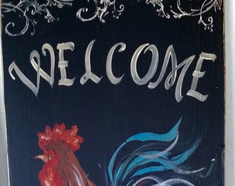 "11"" x 22"" #413 Rooster Welcome Friends Art on Rustic Wood"